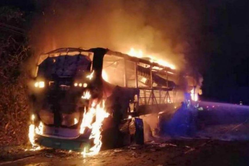 A Sabah Fire and Rescue Services Department spokesman said that the bus was completely destroyed but no injuries were reported.