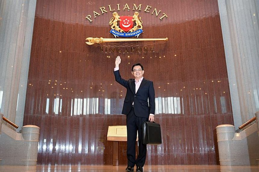 Finance Minister Heng Swee Keat arriving at Parliament House for Budget 2018.
