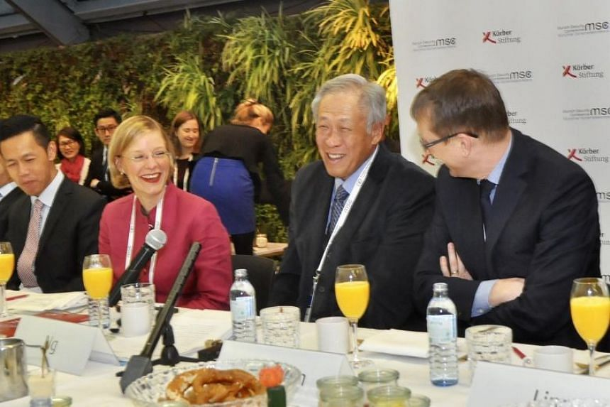 Singapore Defence Minister Ng Eng Hen speaking at the 10th Munich Young Leaders Roundtable in Munich on Feb 18, 2018.