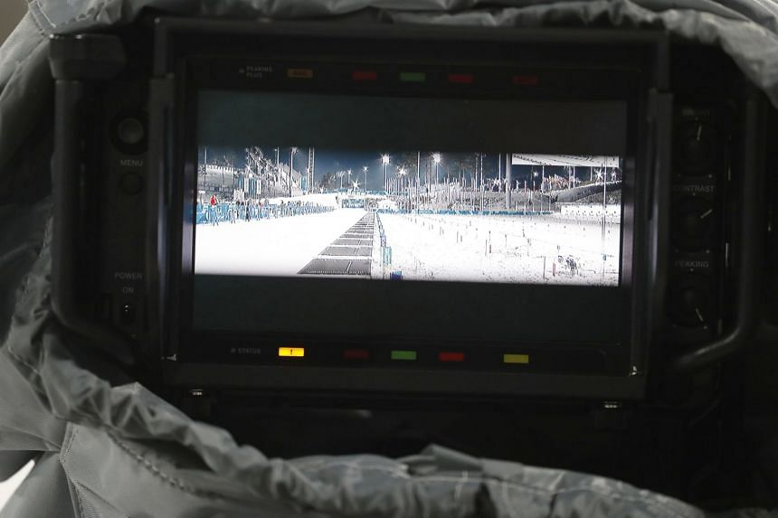 The monitor of a broadcast camera aimed at the shooting range ahead of the Men's Biathlon 15km Mass Start race at the Alpensia Biathlon Centre during the Pyeongchang Winter Games on Feb 18, 2018.