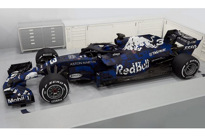 Images of the RB14 car were revealed online, with a temporary blue and black livery and branding for new title sponsor Aston Martin prominent.