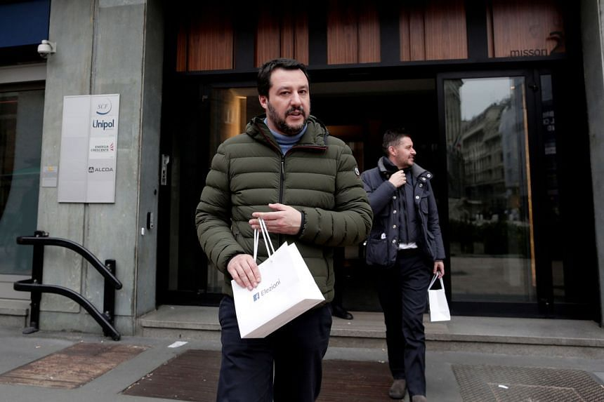 In just over a minute, more than 150 Twitter users sent out the same tweet extolling Italian anti-euro populist Matteo Salvini (above), a contender in next month's presidential election.