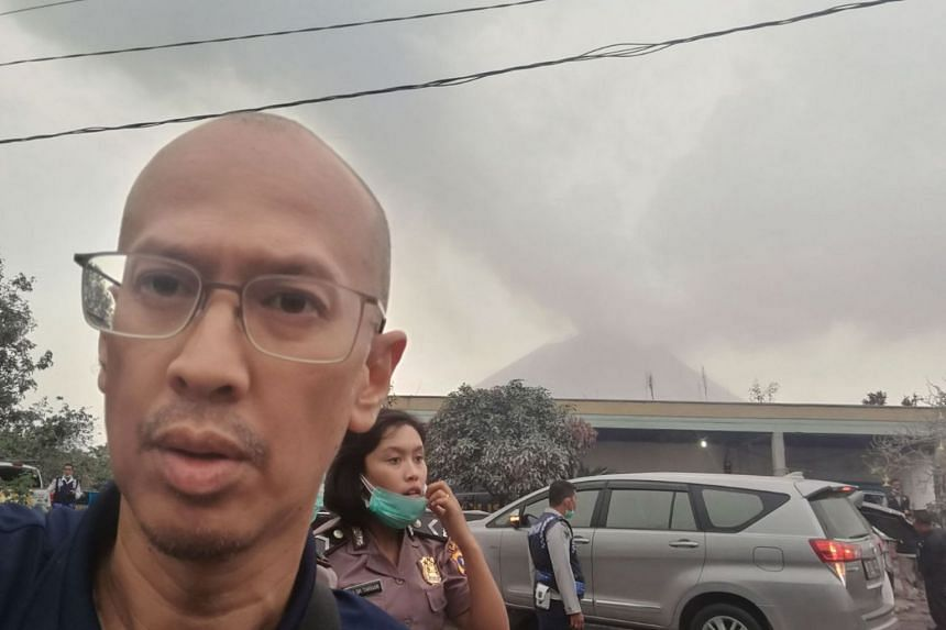 Mount Sinabung several hours after it erupted on Feb 19, 2018.