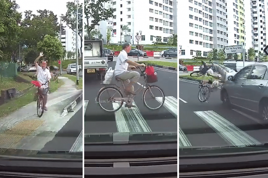In the video, the cyclist raises his hand before cycling across the zebra crossing before a silver Toyota hits him.