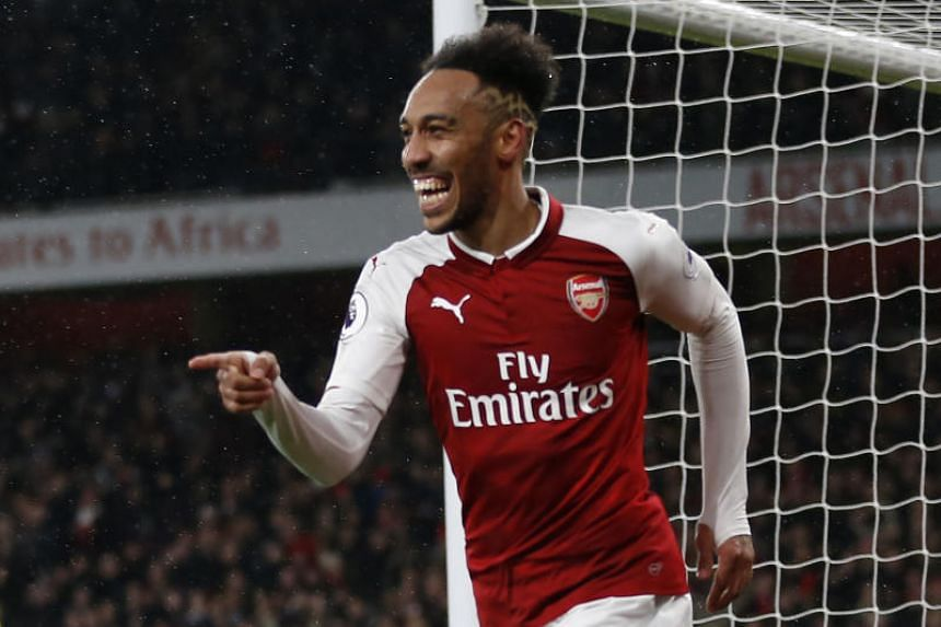 Arsenal's Pierre-Emerick Aubameyang at the Emirates Stadium in London on Feb 3, 2018. The sponsorship deal will run through to the end of 2023-24 season.