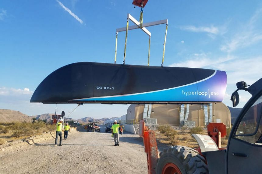 A Hyperloop One test vehicle being transported at a DevLoop track in the Nevada desert on May 12, 2017.