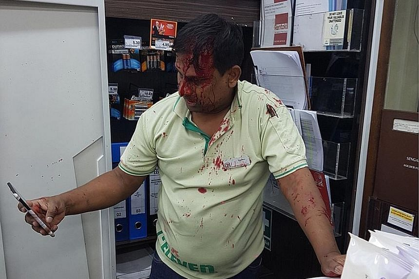 The 7-Eleven employee was sent to Changi Hospital where he received outpatient treatment.