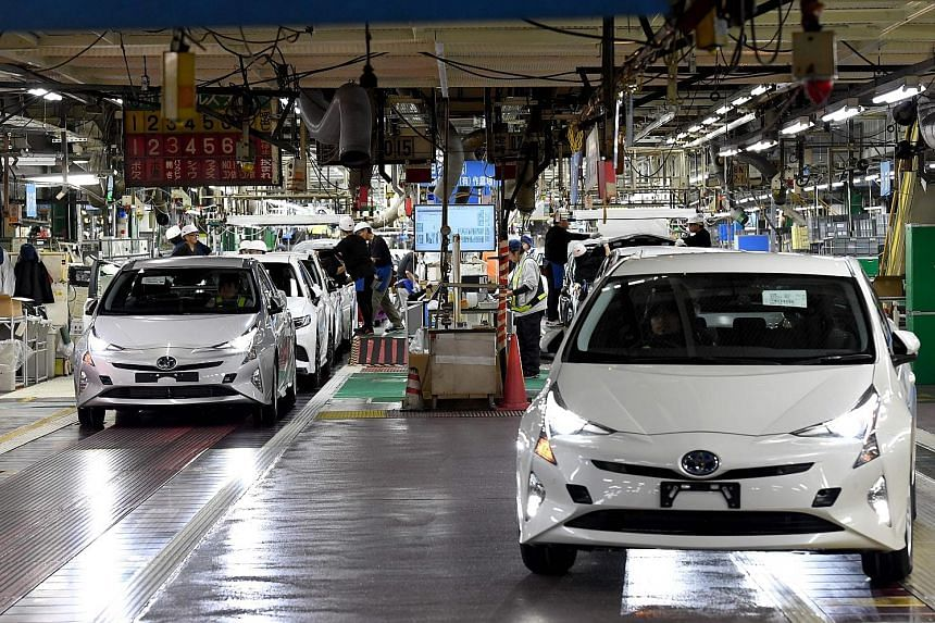 Fourth-generation Toyota Prius cars at the company's Tsutsumi assembly plant in Toyota City, Aichi prefecture, in December last year. Japan's exports to China were led by hybrid cars, car engines and semiconductor production equipment. Shipments to A