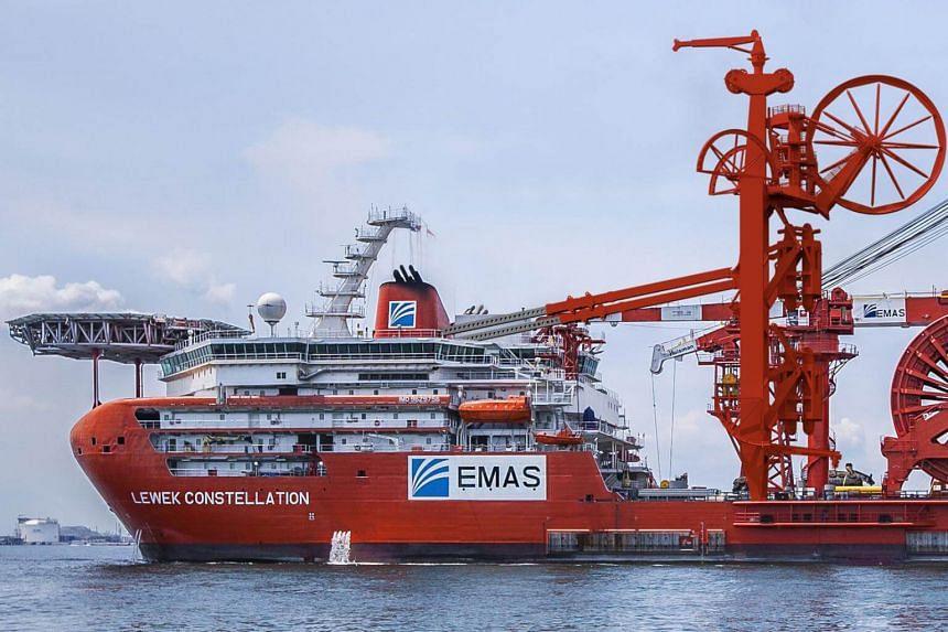 The Emas logo seen on its $600 million flagship vessel, Lewek Constellation.