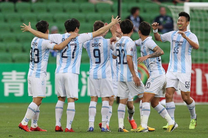 Ulsan Hyundai players celebrate a goal during the AFC Champions League Group F match against Melbourne Victory FC at AAMI Park Stadium in Australia, on Feb 13, 2018.