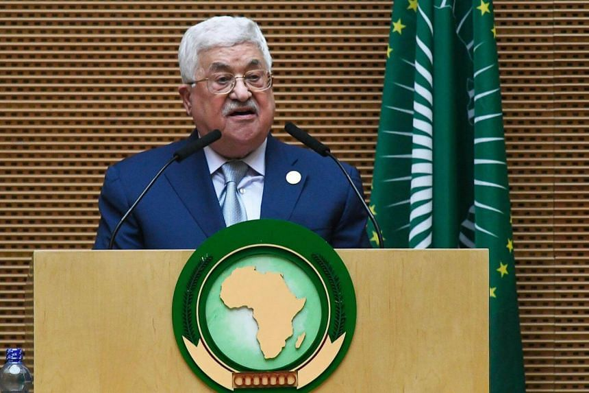 Palestinian President Mahmoud Abbas speaks at the opening of the Ordinary Session of the Assembly of Heads of State and Government during the 30th annual African Union summit in Addis Ababa, on Jan 28, 2018.