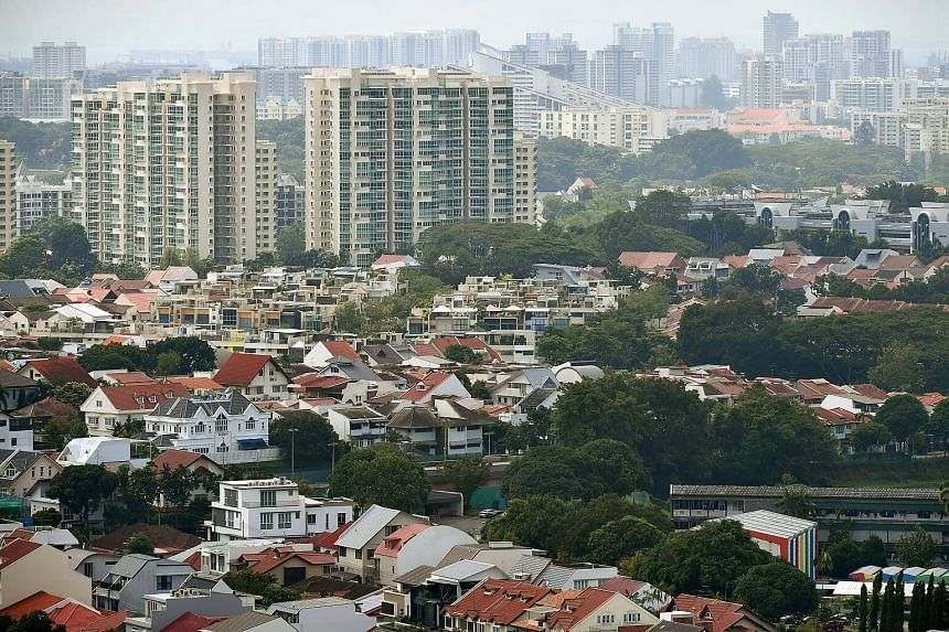 Property stocks fell as the Government raised taxes on home purchases that are worth more than S$1 million after housing prices rebounded from a four-year slump.