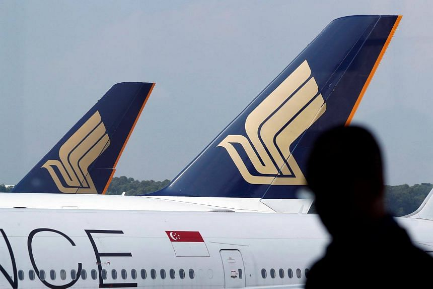 Singapore Airline aircraft on the tarmac of Changi Airport.