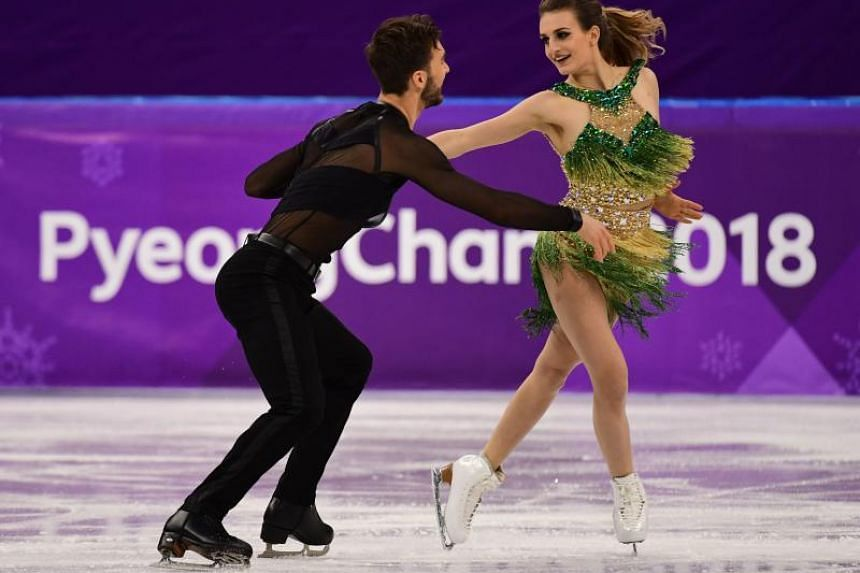 France's Gabriella Papadakis and France's Guillaume Cizeron compete in the ice dance short dance of the figure skating event during the Pyeongchang 2018 Winter Olympic Games at the Gangneung Ice Arena in Gangneung on Feb 19, 2018.