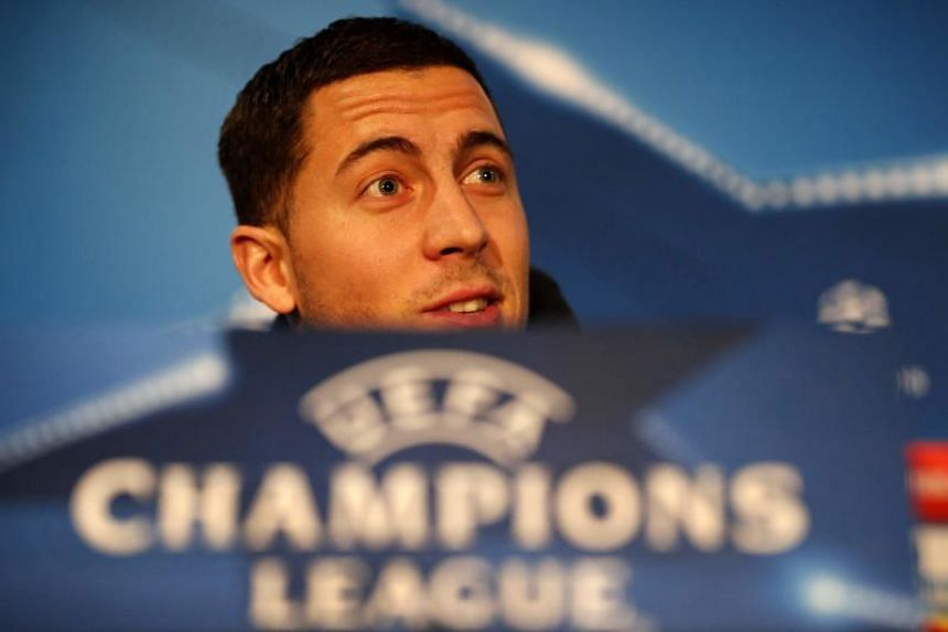 Chelsea's Belgian midfielder Eden Hazard at a press conference at Stamford Bridge stadium in London on Feb 19, 2018, on the eve of their UEFA Champions League round of 16 football match against Barcelona.