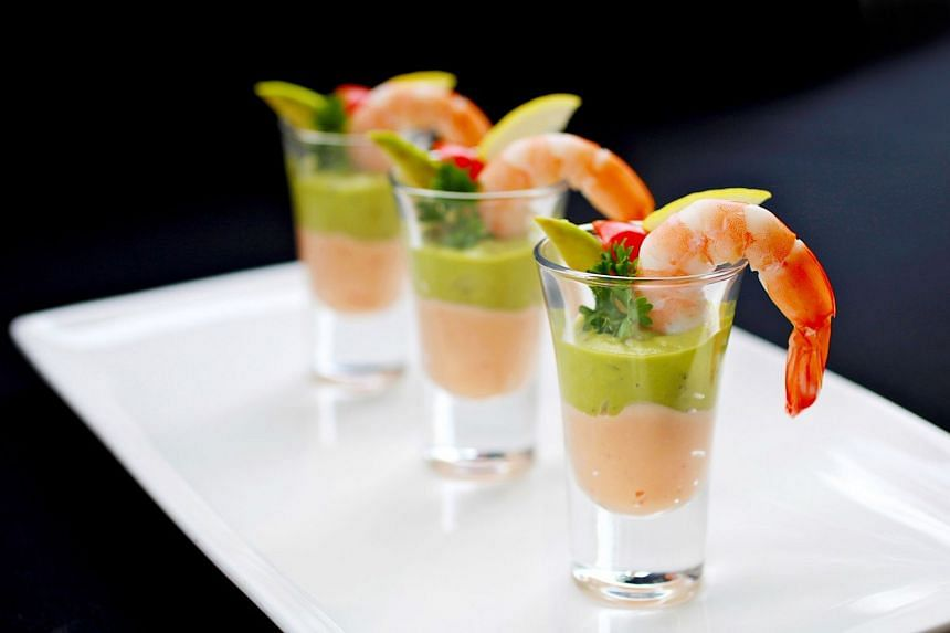 Classic prawn cocktail. The dish was a staple dinner party starter for decades in the United Kingdom.
