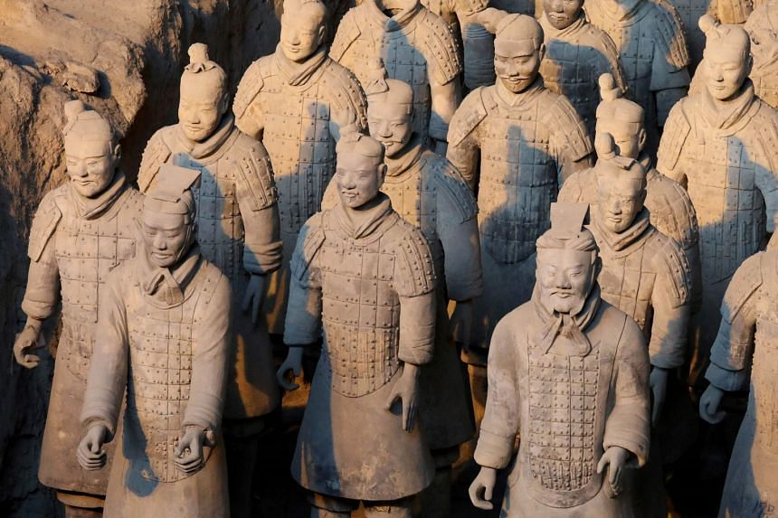 China's famous terracotta warriors pictured in the northern Chinese city of Xian.