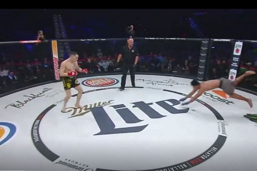 MMA fighter Ron Leon uses an unorthodox Black Panther-style charge at the start of his fight at the Bellator 194 event last weekend.