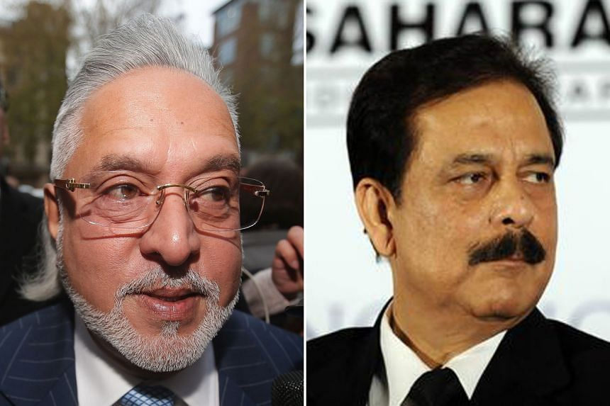 Vijay Mallya (left) is in London fighting extradition proceedings while Subrata Roy was jailed in 2014 over an illegal bond scheme.