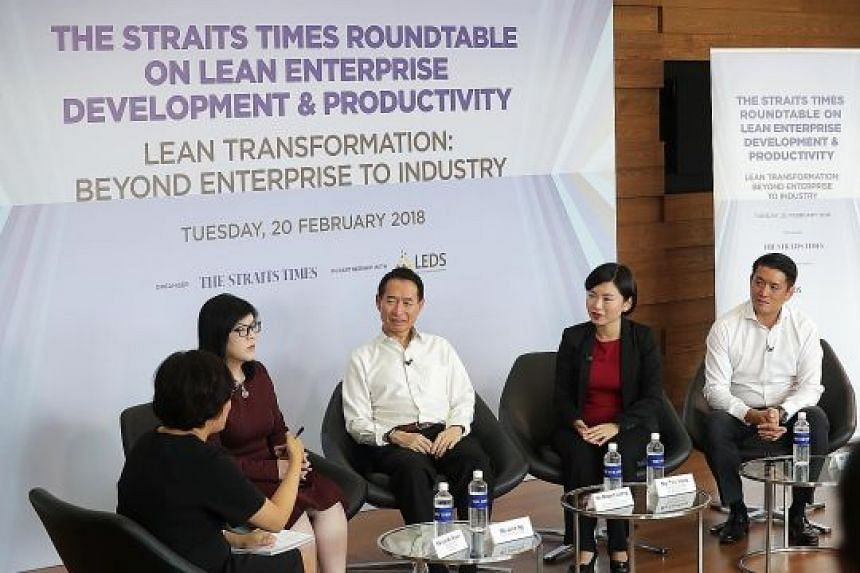 At the roundtable yesterday were (from left) ST business editor Lee Su Shyan, who was the moderator; Ms Julia Ng Lee Hoon, co-chair of the LED task force; Association of Early Childhood and Training Services chairman Robert Leong; La Belle Couture ma