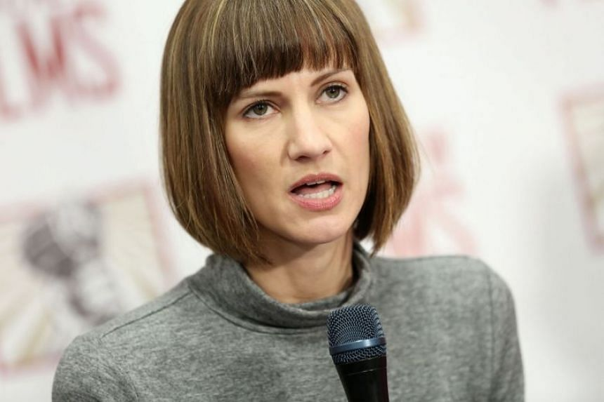 Rachel Crooks at a December 2017 press conference held by women accusing Trump of sexual harassment.