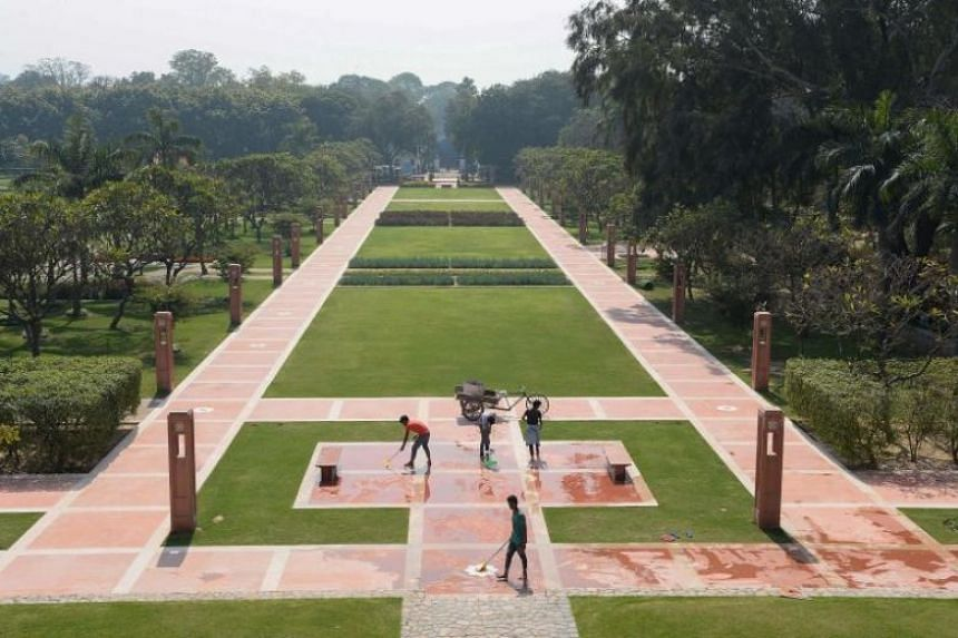 The renovated fountain area in Sunder Nursery, a 16th-century heritage garden complex adjacent to Indian Unesco site Humayun's Tomb, in New Delhi.