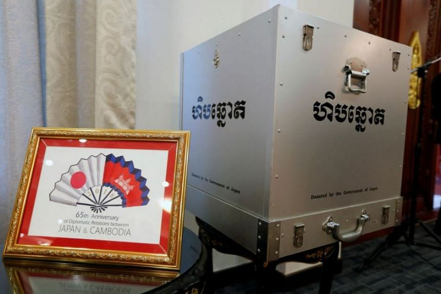 A ballot box donated by the Government of Japan is seen at the Ministry of Foreign Affairs and International Cooperation in Phnom Penh, Cambodia.
