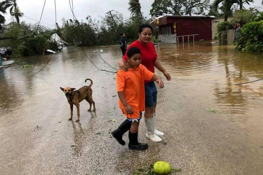 The aftermath of cyclone Gita is seen in Nuku'alofa, Tonga, on Feb 13, 2018.