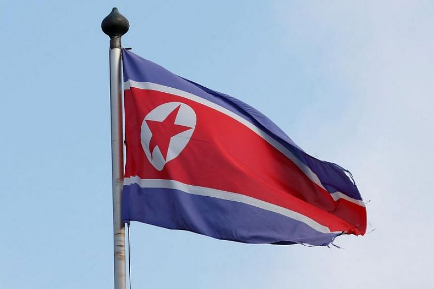 The flag of North Korea pictured outside its Permanent Mission in Geneva, Switzerland, on Nov 17, 2017.