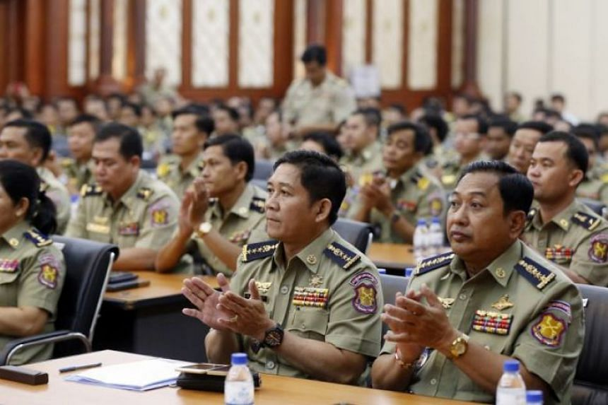 Interior Ministry officials at the annual meeting of the Prison Department in Phnom Penh on Feb 20, where a report showed a 30 per cent increase in Cambodia's prison population last year.
