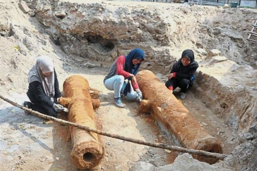 The 2.2m and 2.35m-long cannons, which are believed to be at least 200 years old, were discovered during the excavation of the fort's moat and outer defensive structures on Feb 19, 2018.