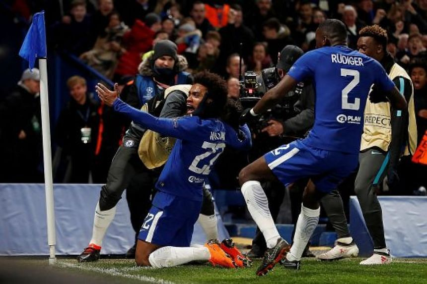 Chelsea winger Willian hit the post twice before finally scoring in the 1-1 draw against Barcelona. Lionel Messi equalised with his first goal in nine games against the Blues to leave the tie finely balanced.