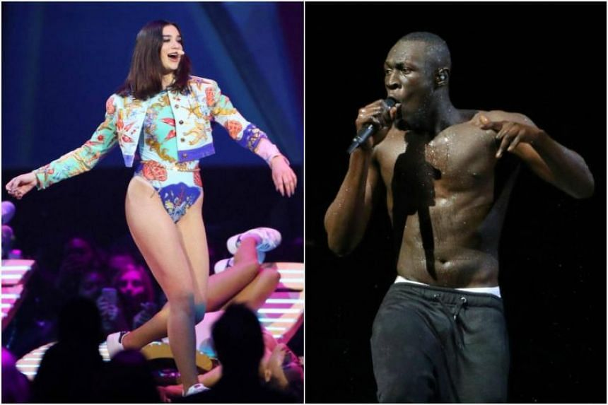 Dua Lipa was named best female solo artist and breakthrough act while rapper Stormzy won the British male solo artist prize and British album of the year at the BRIT awards on Feb 21, 2018.