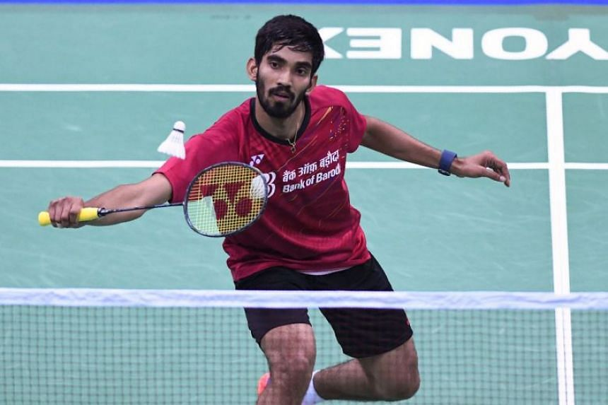 Indian badminton player Kidambi Srikanth hits a return during his singles match at the Yonex Indian Open 2018 at the Siri Fort sports complex in New Delhi, on Feb 1, 2018.