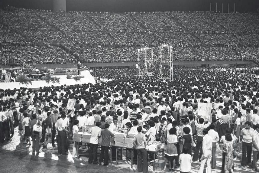 The National Council of Churches Singapore (NCCS) said 337,000 people, including Singaporeans and others from around the region, turned up to hear American evangelist Billy Graham preach over five nights in the old 55,000-seat National Stadium in Kal