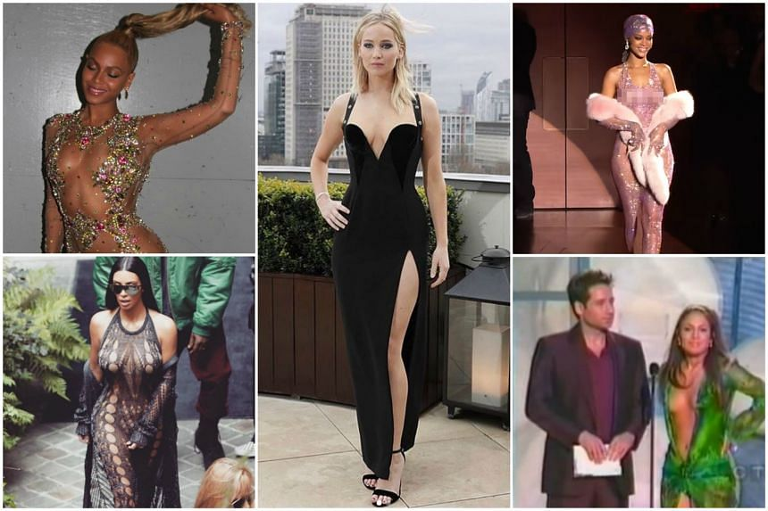 Jennifer Lawrence's black gown with a plunging neckline (centre) drew extreme reactions, but she's not the first celebrity to get attention for wearing revealing outfits.