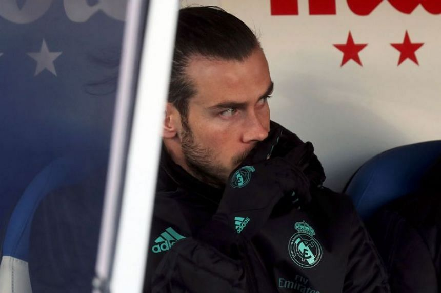 Real Madrid forward Gareth Bale on the bench during his team's Spanish Primera Division match against Leganes on Feb 21, 2018.