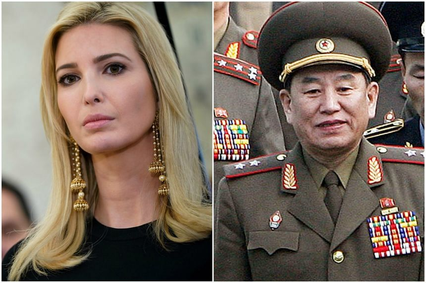 """President Donald Trump has asked Ivanka Trump (left) to travel to Pyeongchang to lead up a """"high level delegation"""" while North Korea will send an eight-member delegation Sunday headed by Mr Kim Yong Chol (right)."""