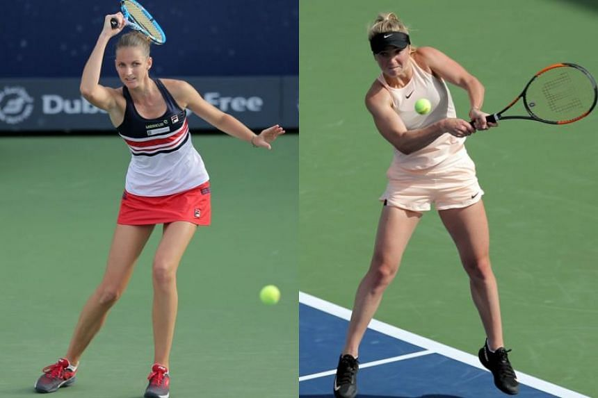 Angelique Kerber (left) and Elina Svitolina (right) will face off in the semi-final of the WTA Dubai Duty Free Tennis Championship on Feb 23, 2018.