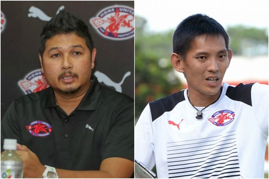 Home United coach Aidil Sharin (left) and Hougang United coach Philippe Aw. Both have their own club rules regarding smoking.
