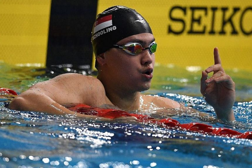Joseph Schooling gestures after winning the men's swimming 100m freestyle event at the 29th Southeast Asian Games in Kuala Lumpur on Aug 24, 2017.