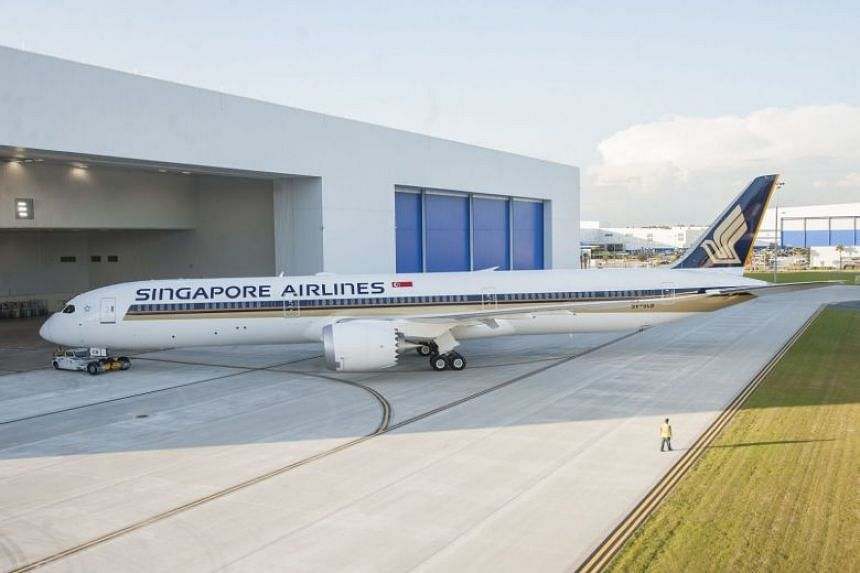 The Singapore Airlines 787-10 in North Charleston, South Carolina.