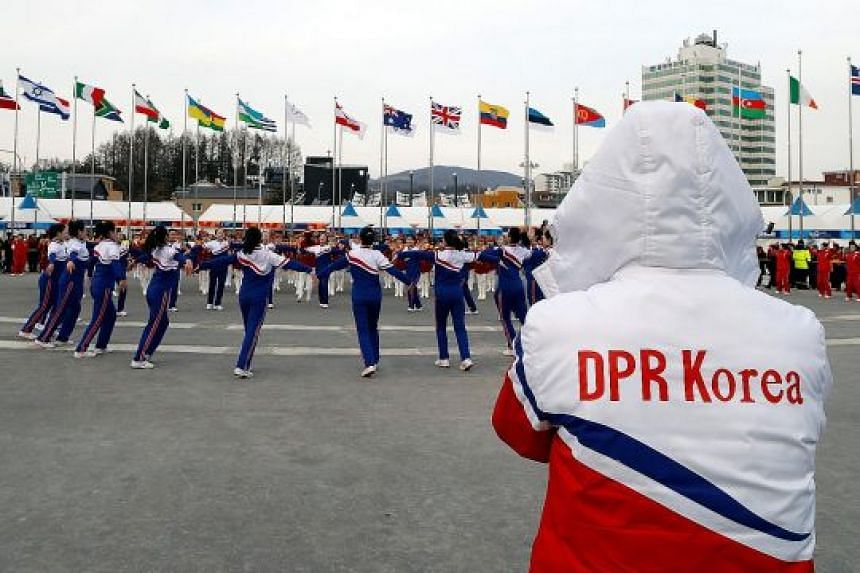 North Korean cheerleaders in Pyeongchang on Tuesday.
