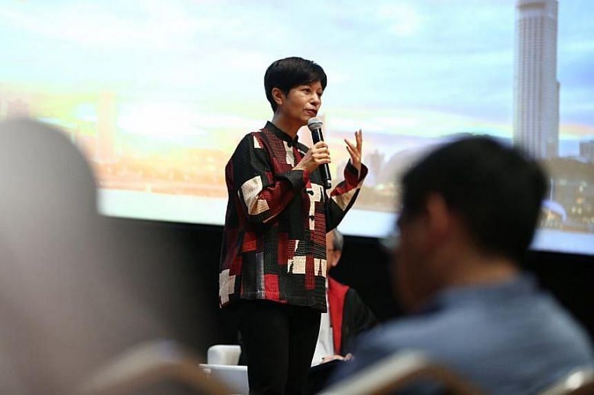 Senior Minister of State for Law and Finance Indranee Rajah speaking at the Reach Budget 2018 dialogue at the National Museum of Singapore on Feb 20, 2018.