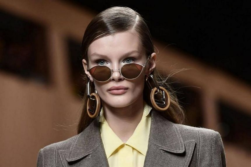 A model presents a creation by Fendi during the women's Fall/Winter 2018/2019 collection.