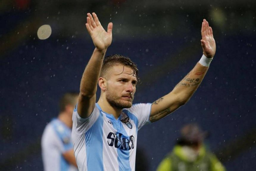 Lazio's Ciro Immobile celebrates after the match.
