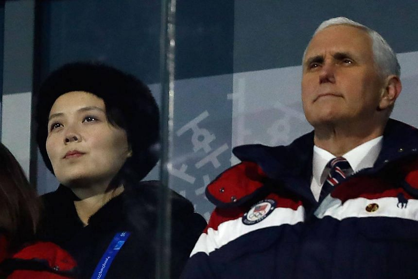 US Vice President Mike Pence and North Korea's Kim Yo Jong attend the opening ceremony of the Pyeongchang 2018 Winter Olympic Games on Feb 9, 2018.