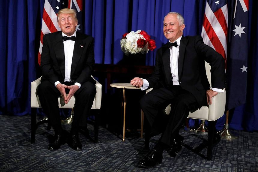 US President Donald Trump (left) and Australia's Prime Minister Malcolm Turnbull deliver brief remarks to reporters as they meet ahead of an event at the Air and Space Museum in New York, on May 4, 2017.