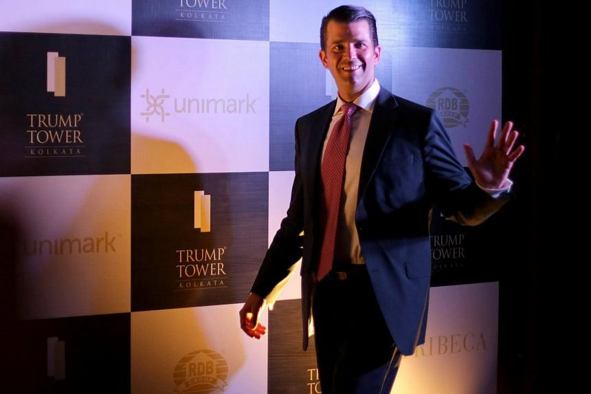 US President Donald Trump's eldest son, Donald Trump Jr, arrives for a meeting in Kolkata, India on Feb 21, 2018.