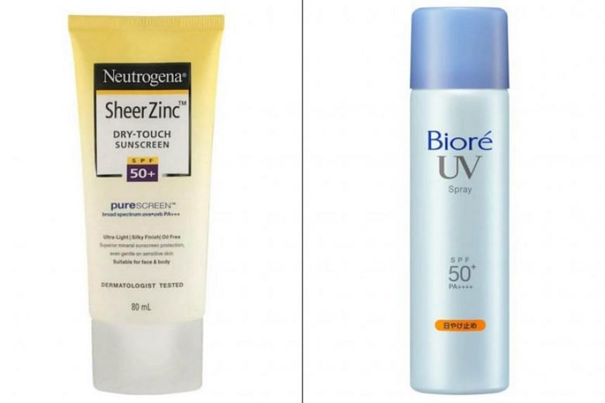 Sheer Zinc Dry-Touch Sunscreen SPF 50+ from Neutrogena (left) and UV Perfect Spray SPF 50+ from Biore.